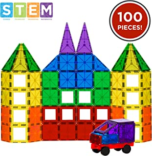 Best Choice Products 100-Piece Transparent Rainbow Magnetic Building Tiles w/ Carrying Case, Multi