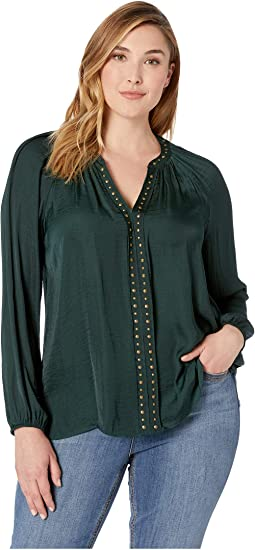 Plus Size Long Sleeve Rumple Stud Trim Blouse