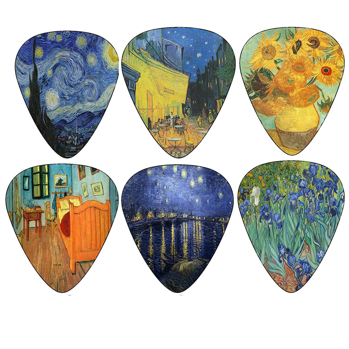 Vincent Van Gogh Guitar Picks - Celluloid Medium 12 Pack - Starry Night Sunflowers Cafe by Creanoso - Best Father's Day Gift Stocking Stuffer Gifts for Men Women Guitarist