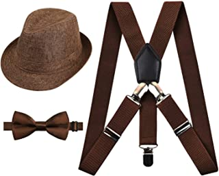 1 inch Suspender and Bow Tie Set with Matched Hat for Kids