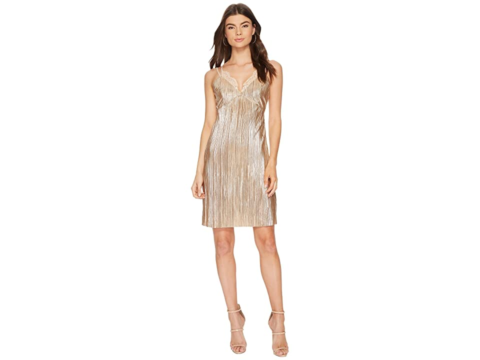 J.O.A. Pleated Lace Trim Dress (Champagne) Women