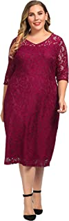 Chicwe Women's Plus Size Stretch Guipure Lace Dress - Party Wedding Cocktail Dress
