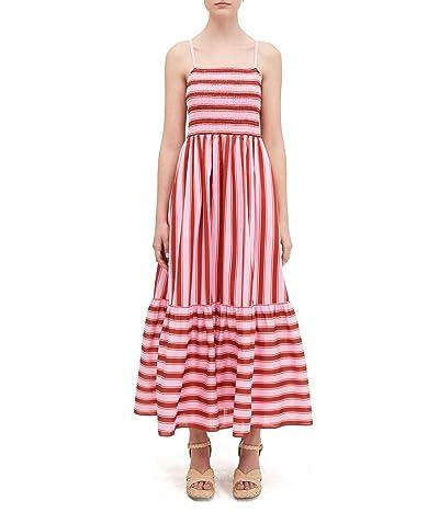 Kate Spade New York Calais Stripe Smocked Dress (Rosy Carnation) Women