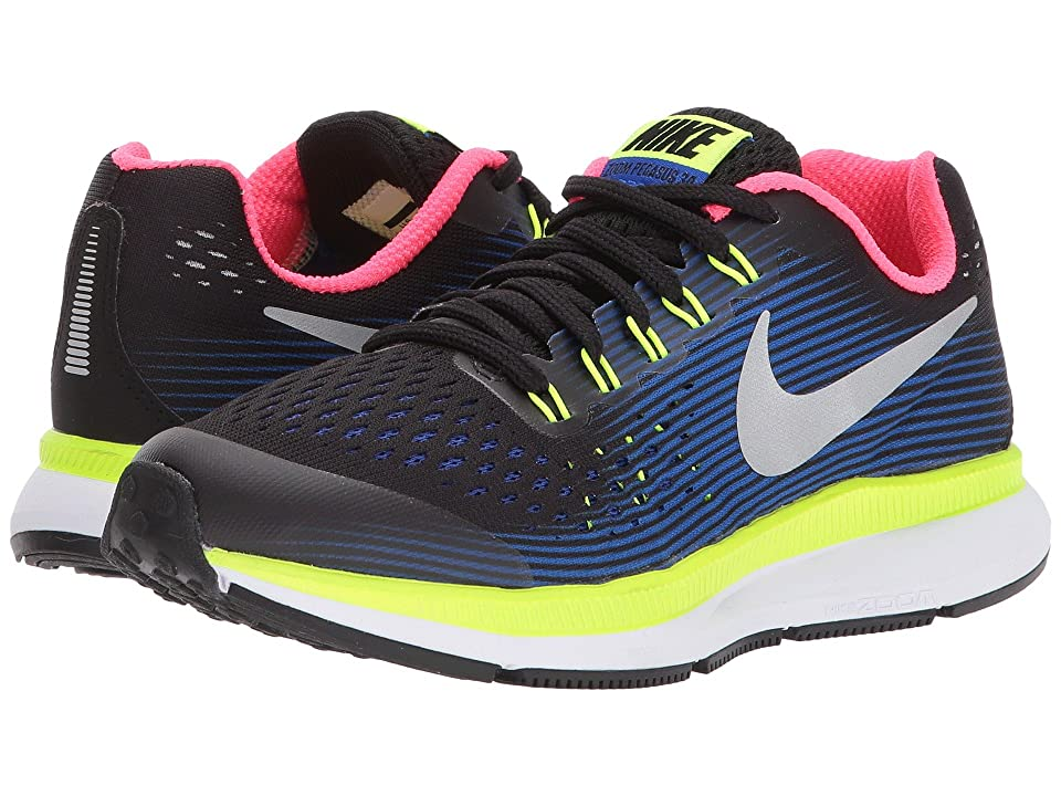 Nike Kids Zoom Pegasus 34 (Little Kid/Big Kid) (Black/Chrome/Volt/Racer Blue) Boys Shoes