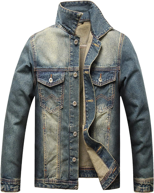FZAI Men's Basic Long Sleeves Button Down Denim Jean Oversize Vintage Jackets