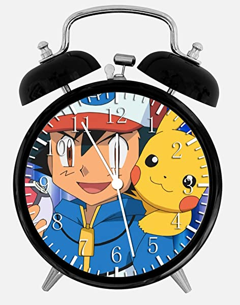 Twin Bell Pikachu Ash Alarm Desk Clock 4 Home Or Office Decor E421 Nice For Gift