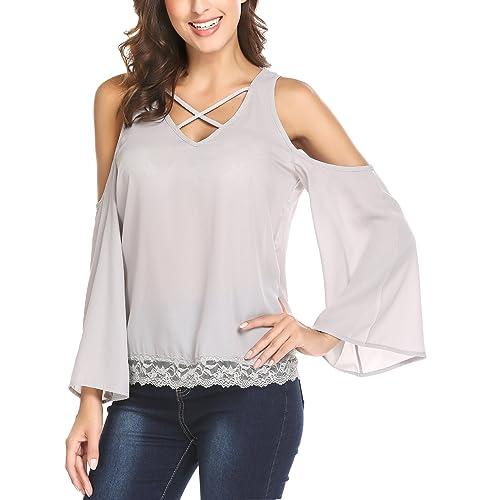 fb60b319226b4 Mofavor Womens Summer 3 4 Bell Sleeve Chiffon Blouse Round Neck T-Shirt  Tunic