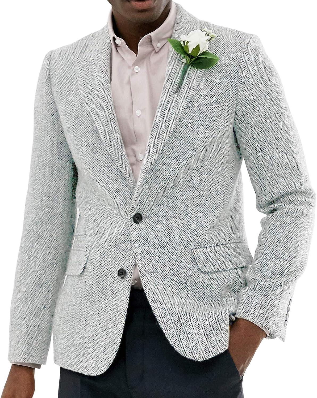 Men's 2 Piece Slim Fit Tweed Wool Men Suit Herringbone Pattern Wedding Groomsmen Tuxedos(Blazer+Vest+Pant)