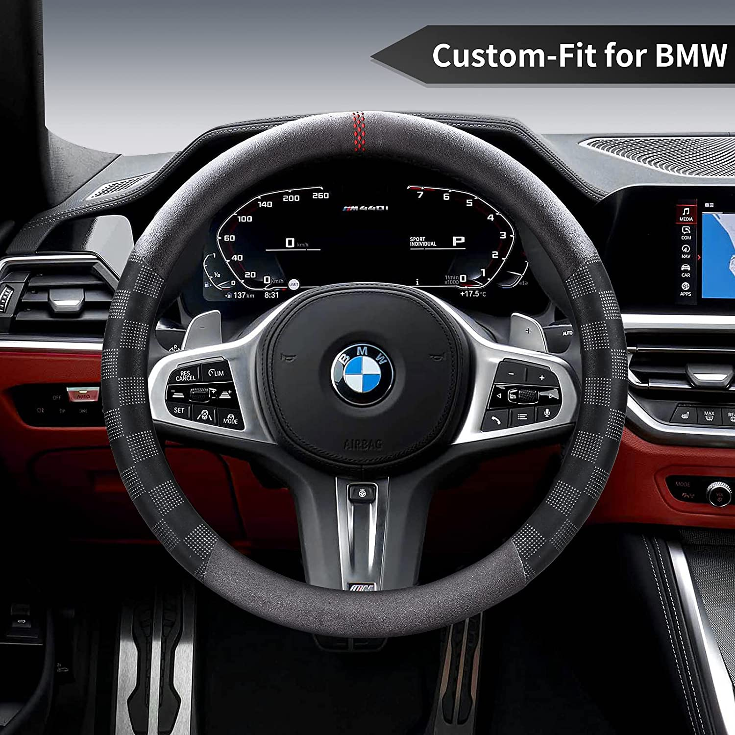 Car Steering Wheel Cover for 70% OFF Virginia Beach Mall Outlet BMW Deer Non-Slip Microfiber Route
