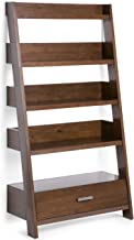 Simpli Home AXCDNA-15-NAB Deanna Solid Wood 66 inch x 36 inch Contemporary Ladder Shelf in Natural Aged Brown