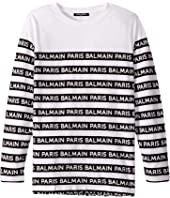 Balmain Kids - Long Sleeve Striped Logo Tee (Big Kids)