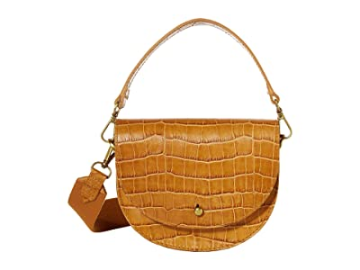 Madewell Small Slim Saddle Bag in Croco (Boutique Gold) Handbags