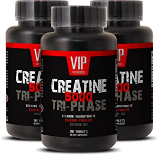 Creatine Tri-Phase 5000mg, Perfect Blend of Creatine Monohydrate, Creatine HCL and Creatine Pyruvate (3 Bottles 270 Tablets)
