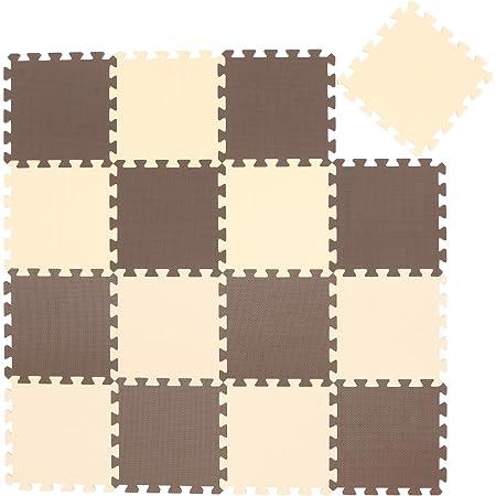 [Amazon限定ブランド] Jointiee ジョイントカラーマット16枚組 チョコレート 0か月~