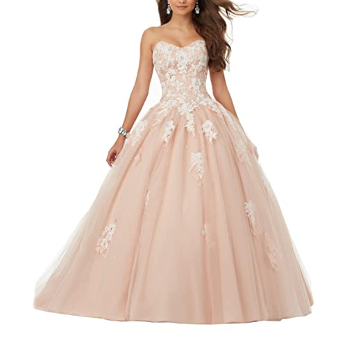1ab4f227e26 Eldecey Women s Sweetheart Lace Applique Sweet 16 Ball Gown Quinceanera  Dress