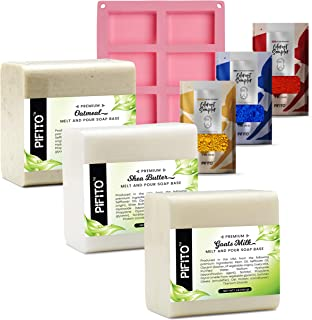 Pifito DIY Hand Soap Making Supplies Kit - Set Includes Premium Melt and Pour Soap Base (Goats Milk, Shea Butter, Oatmeal)...