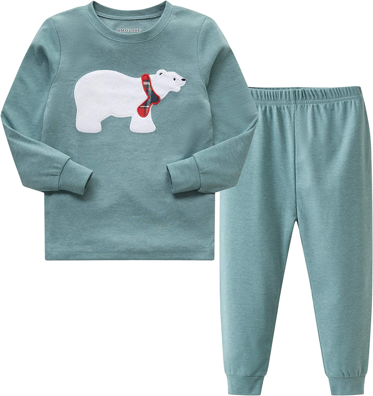 AMGLISE Baby Little Kid and Toddler Boys' Christmas Polar bear Pajamas Set Big Boys Girls Pjs 4T