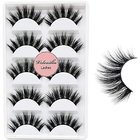 Veleasha 5D Faux Mink Lashes Handmade Luxurious Volume Fluffy Natural False Eyelashes 5 Pairs   Dubai