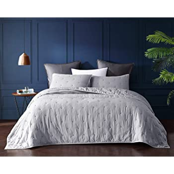 Bourina Reversible Quilt Coverlet Set Queen - Pre-Washed Microfiber Ultra Soft Lightweight Star Quilted Bedspread 3-Piece Quilt Set, Grey