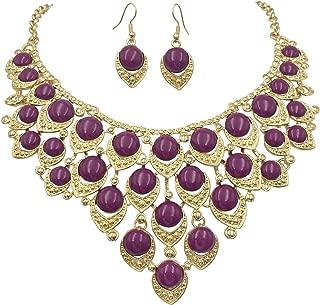 Teardrop Dot Cluster Statement Bib Boutique Style Necklace & Earrings Set - Assorted Colors