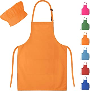 Dapper&Doll Orange Kids Chef Hat and Apron for Boys & Girls Ages 4-10