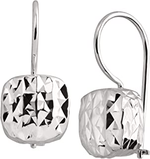 Rounded Cube' Drop Earrings in Textured Sterling Silver