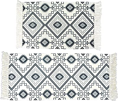 Lacomfy 2 Pack Cotton Runner Rug Set with Tassel Area Rug Bathroom Mat with Geometric Diamond Woven Carpet for Bedroom Living Room Laundry Room Kitchen Vintage Chic Reversible Rug