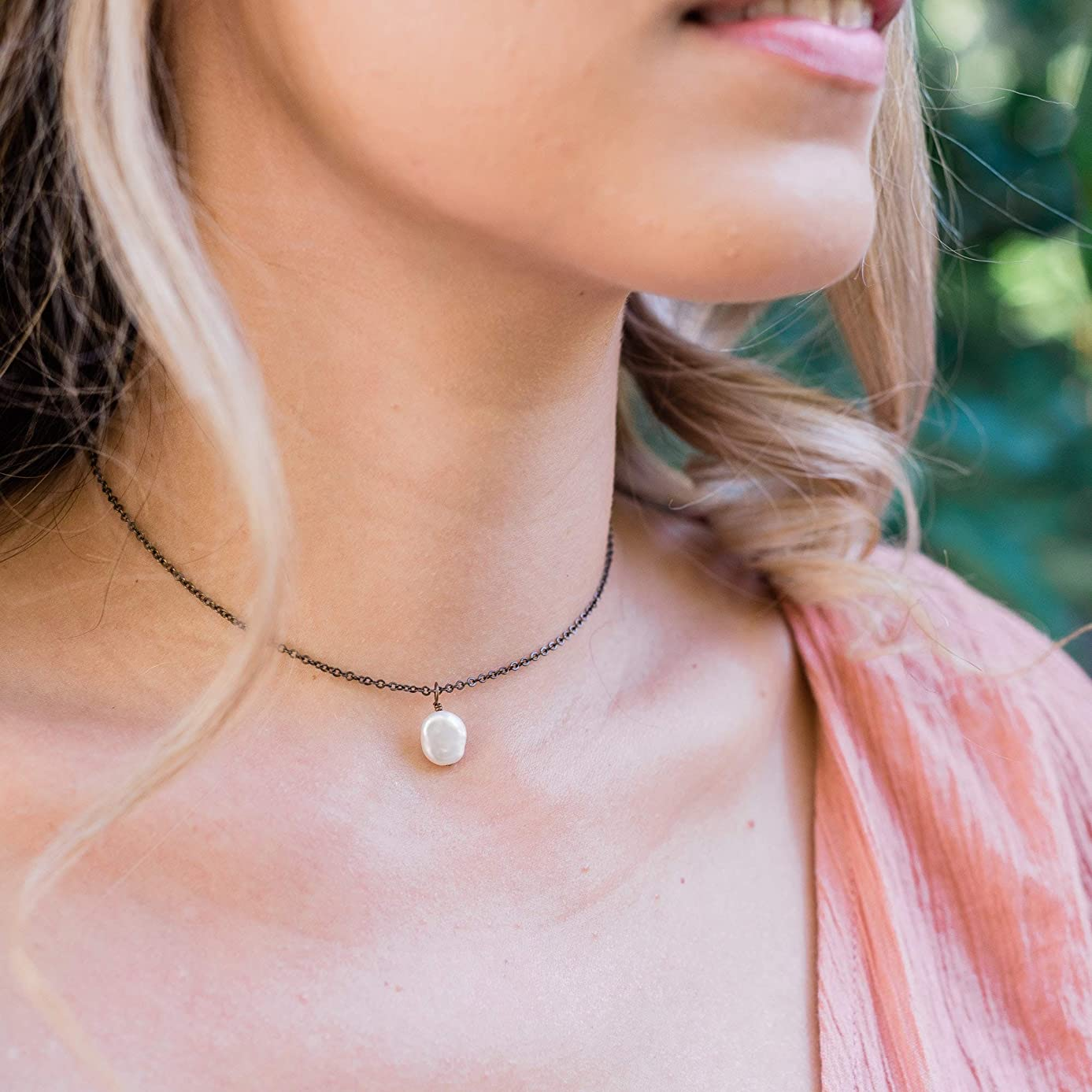 Tiny raw freshwater pearl gemstone pendant choker necklace in bronze - 12
