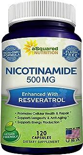Nicotinamide with Resveratrol - 120 Veggie Capsules - Vitamin B3 500mg (Niacinamide Flush Free) - Supplement Pills to Supp...