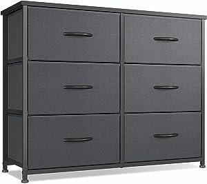 CubiCubi Dresser for Bedroom, 6 Drawer Storage Organizer Tall Wide Dresser for Bedroom Hallway, Sturdy Steel Frame Wood Top, Black Grey