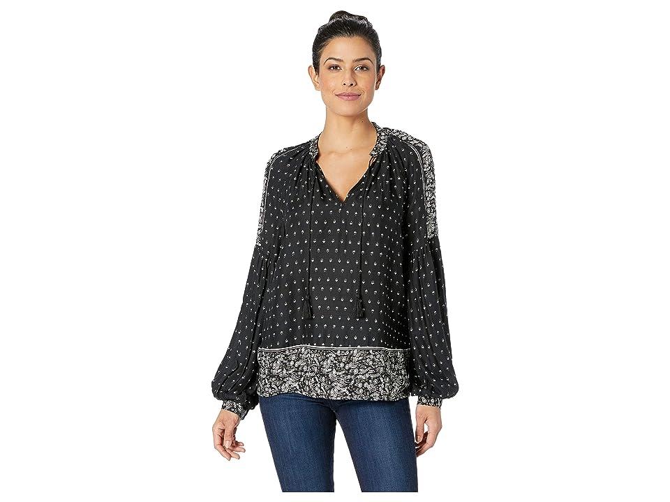 Lucky Brand Border Print Peasant Top (Black/White Multi) Women's Long Sleeve Pullover