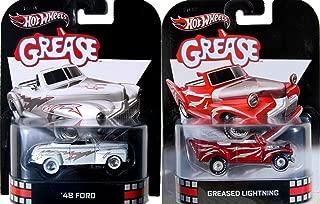 Grease Hot Wheels Set - Red & White 2 Car Retro Entertainment Die Cast Greased Lightning John Travolta Movie Vehicle Replica