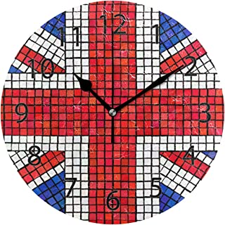 XiangHeFu Wall Clock,Round 10 Inch Diameter Silent Abstract UK Flag Decorative for Home Office School