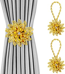 Yolife Crystal Curtain Tiebacks, 2 Pack Flower Design Curtain Holdbacks Diamond Clips with Stretchy Wire Rope for Home Office Decoration (Flower Gold)