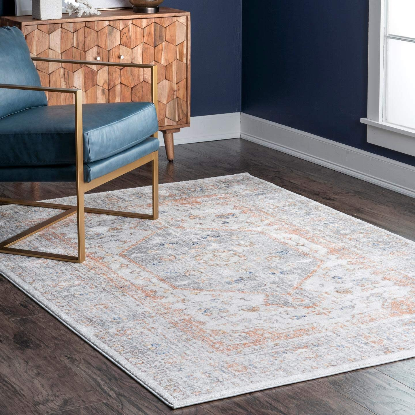 nuLOOM Vintage Jacquie Floral Area sold Challenge the lowest price of Japan out 4' 6' Silver Rug x