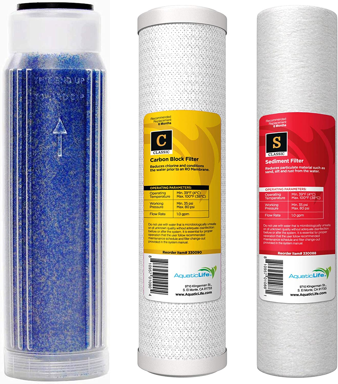 Aquatic Life Reverse Osmosis Deionization (RODI) 10  Replacement Filter Kit (Sediment Cartridge, Carbon Cartridge, color Indicating DI Resin Cartridge filled with Resintech MBD30 Resin)