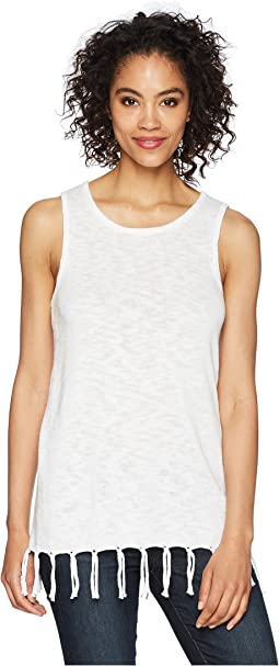 Dylan by True Grit - Slub Stitch Sleeveless Sweater with Tie Fringe