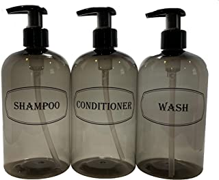 Bottiful Home-Shampoo, Conditioner and Shower Soap Dispensers-16 oz x 3 Empty PET Plastic Pump Bottles-Refillable Shower Containers-Gray w Black Print-Fully Waterproof, Rust-Free, Clog-Free, Drip-Free