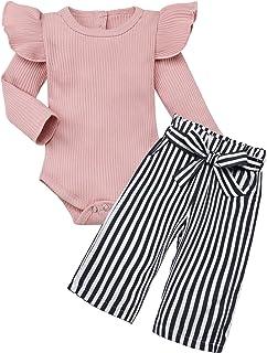 Newborn Baby Girl Clothes Solid Color Romper + Stripe Pants 2PCS Winter Outfit Set Newborn