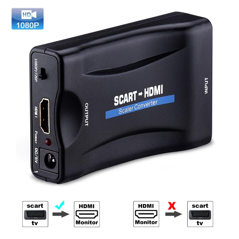 Tihokile Scart a HDMI 1080P Convertidor de Euroconector a HDMI Adaptador de Vídeo Escalador para Inteligente Teléfono PS3 PS4 Sky HDTV DVD BLU- Ray …: Amazon.es: Electrónica