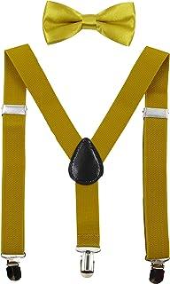 HANERDUN Tirantes unisex con pajarita para niños y niñas, fijación con tres clips en la cintura del pantalón.