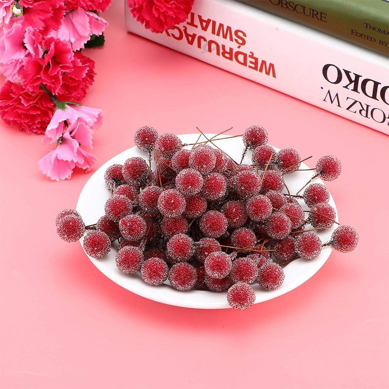 Emoshayoga Super-cheap Red 100pcs Berry Year-end gift Artificial Stems Flower Artifi