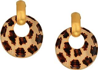 Kenneth Jay Lane Giraffe Pattern Wood Hoop Doorknocker with Satin Gold Clutchless Post Top Earrings