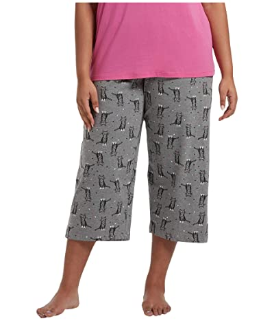 HUE Plus Size Sweet Kitty Capris PJ Pants (Medium Heather Grey) Women