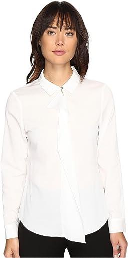 Long Sleeve Woven Ruffle Front Blouse