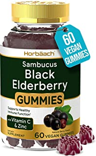 Sambucus Black Elderberry Gummies   60 Count   with Zinc and Vitamin C   Vegan, Non-GMO, Gluten Free Extract for Adults   ...