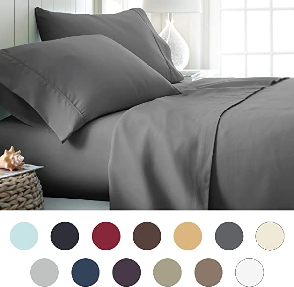 Ienjoy Home Hotel Collection Luxury Soft Brushed Bed Sheet Set Hypoallergenic Deep Pocket Queen Gray