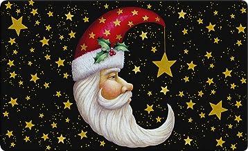 Toland Home Garden Santa Moon 18 x 30 Inch Decorative Floor Mat Christmas Sky Celestial Gold Star Holiday Doormat
