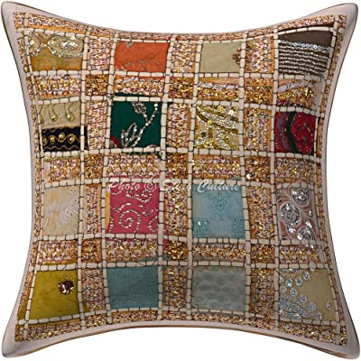 Stylo Culture Coton Coussin de Couverture Traditionnel Sequins Patchwork 16x16 Couverture d'oreiller géométrique Blanc