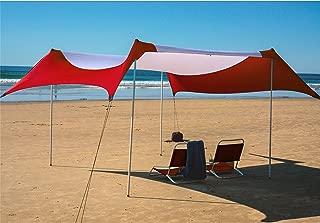 Fofana Cabana Beach Canopy - 10x10 Foot Beach Shade | Beach Tent with Sandbag Anchor | Extra Large Family Size Beach Sun Shelter with 4 Poles | UV Protection UPF50